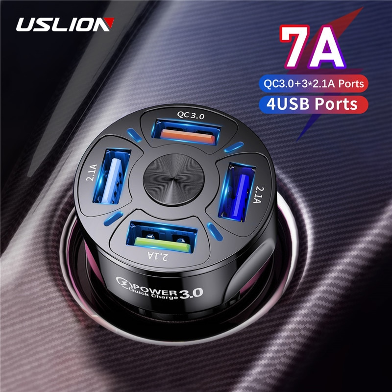 USLION 4 Ports USB Car Charge 48W Quick 7A Mini Fast Charging For iPhone 11 Xiaomi Huawei Mobile Pho