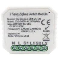 Tuya Zigbee 3 0 Module de commutateur intelligent avec neutre ue 220V 2 voies interrupteur de lumiere sans fil Compatible Alexa Google Home