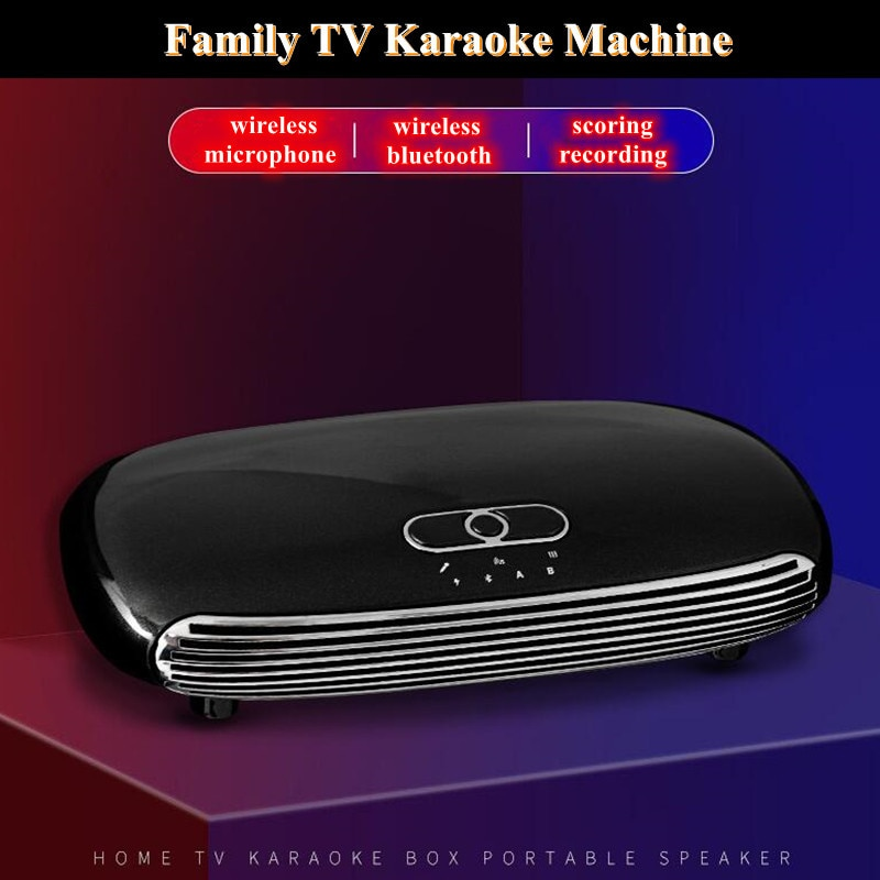 K8 Optical Bluetooth V5.0 Wireless Dual Microphone ARC Family Home Echo System Singing Karaoke Machine Box K-Song Player 30M Far enlarge