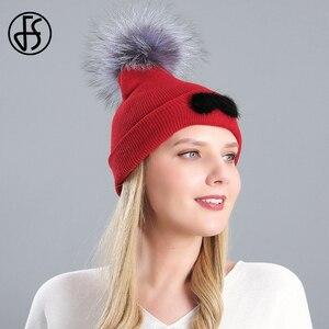 Женская вязаная шапка с помпоном FS, Шапка-бини с помпоном из натурального меха красного и зеленого цветов, брендовая дизайнерская шапка, зим...