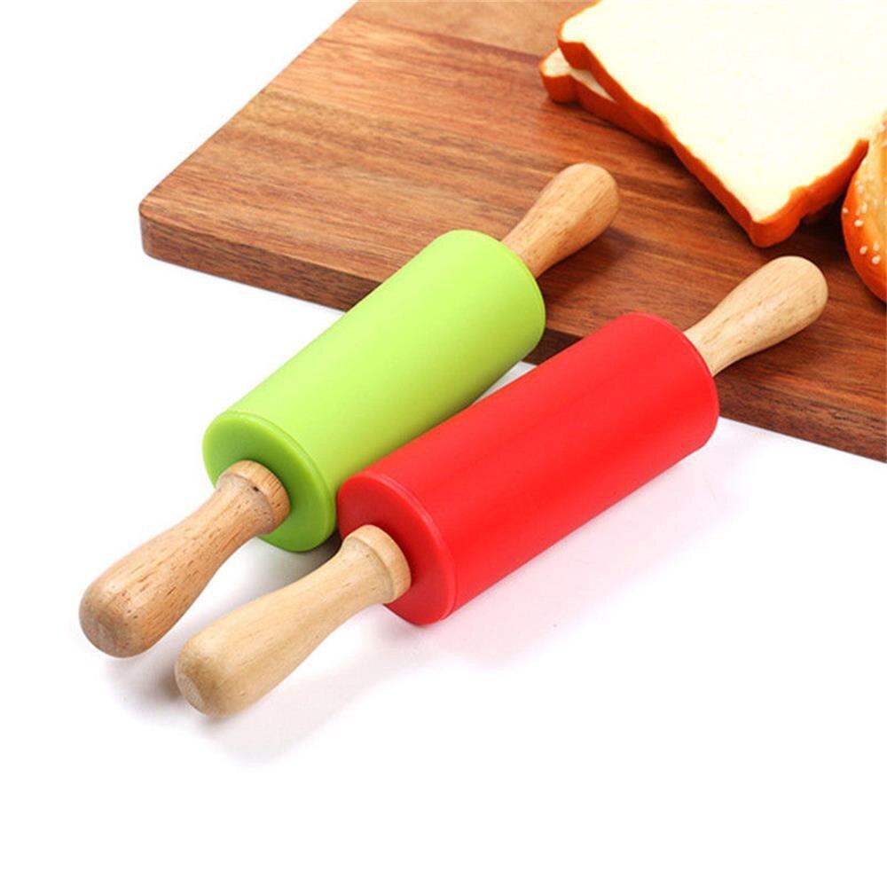 23 см мини Силиконовый Скалка 4 конфетных цвета деревянная ручка антипригарный тесто ролик Родитель Ребенок Diy выпечки Кондитерские инструменты Новый # BL5