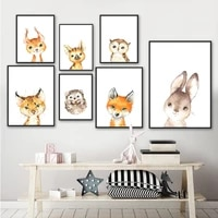 cartoon owl cat hedgehog fox rabbit animal wall art canvas painting nordic posters and prints wall pictures baby kids room decor