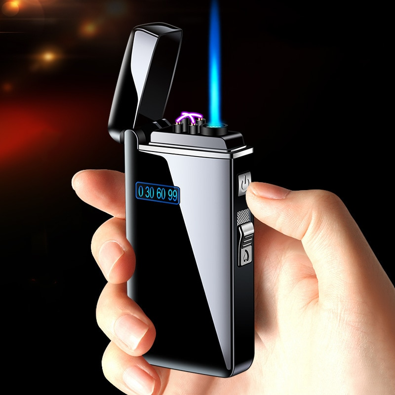 New Windproof Metal USB Torch Lighter Jet Turbo Dual Arc LED Lighters Butane Gas Pipe Cigar Powerful