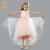 nimble girls dress organza flower jacquard tail dress princess dress for girls vestidos vestido infantil kids dresses for girls