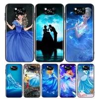 princess cinderella for xiaomi poco x3 nfc m3 m2 x2 f3 f2 pro c3 f1 mi play mix 3 a2 a1 6x 5x black soft phone case