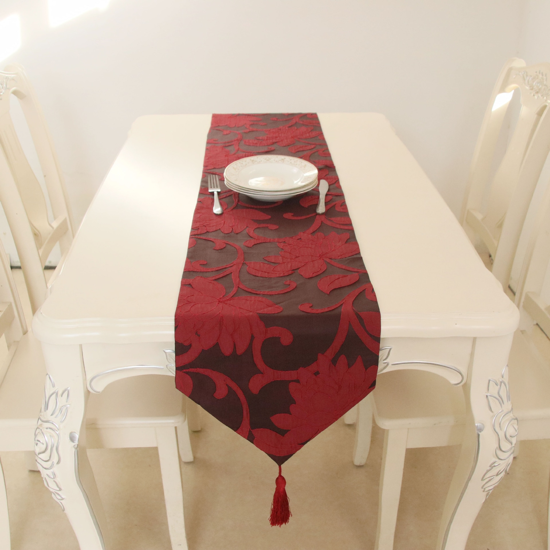 Chinese style red big flower table runner classical cloth art home coffee decoration