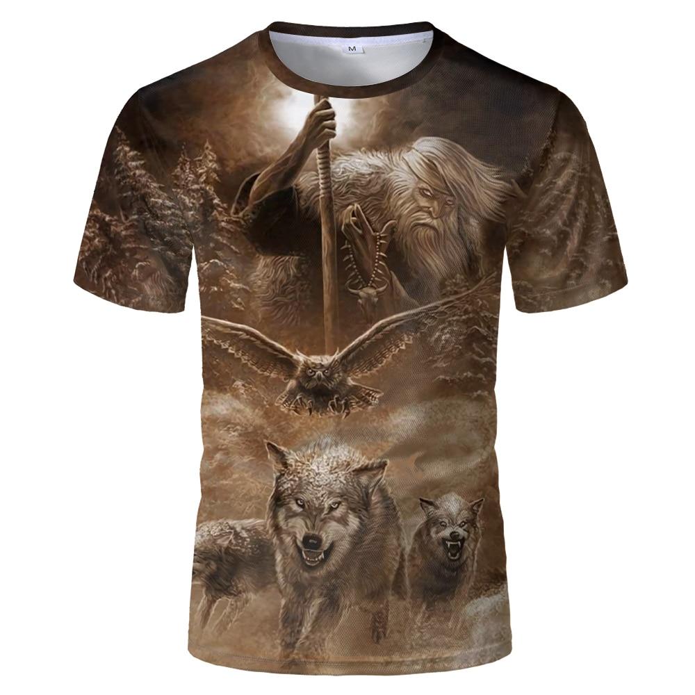 Men clothes 2021 Newest Harajuku Wolf 3D Print Cool T-shirt Men/Women Short Sleeve Summer Tops Tees