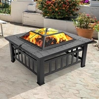 portable square courtyard metal fire bowl wood burning pits brazier decoration for backyard poolside iron black courtyard