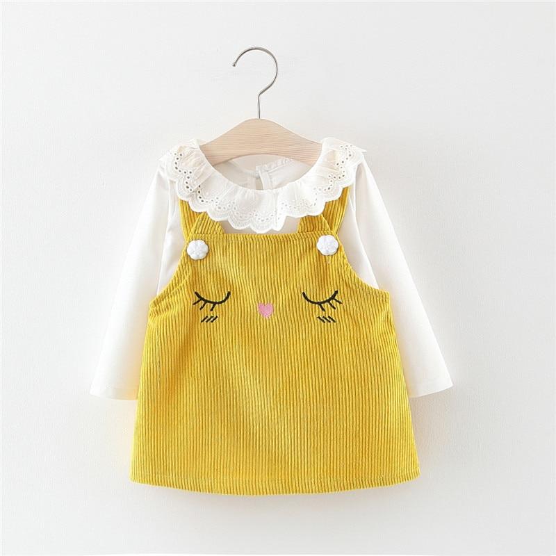 Autumn Baby Girl Dress Princess Dress Cotton Long Sleeves T-shirt Tops With Cartoon Corduroy Vest Dress Clothes Set Girl Clothes