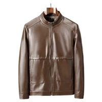 plus size stylish zipper closure men jacket stand collar autumn winter faux leather solid color slim motorcycle jacket outwear