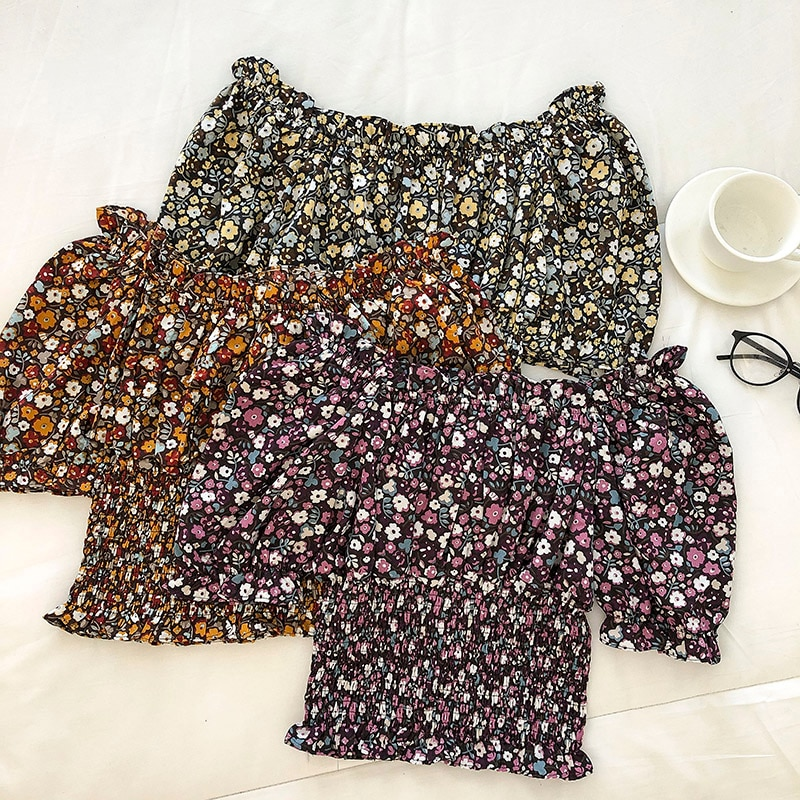 Korean Style Summer New Vintage Floral Short Top Scheming Waist Puff Sleeve French Style off-Shoulde