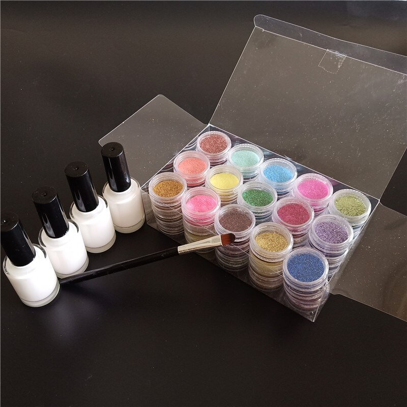 45 Colors Diamond Shimmer Glitter Powder 4 Glues 1 Brush Temporary Tattoo Kids Face Body DIY Nail Painting Decoration Art Tool