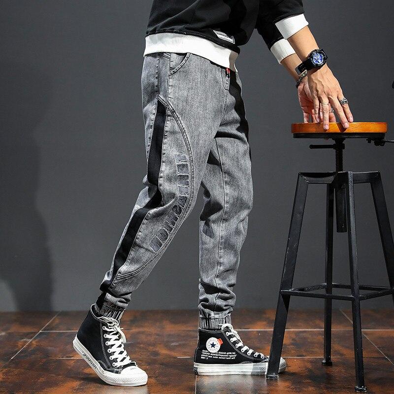 Брюки мужские с эластичной резинкой, модные ковбойские джинсы с лишним весом, модная уличная одежда в стиле пэчворк, большие размеры