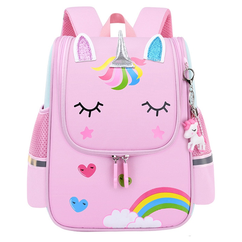 Girl School Bags Child Pink Unicorn Nylon Printing Backpack Kindergarten Student Cute Girls Children's Schoolbag Waterproof Kid