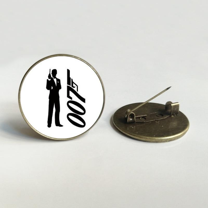 007 convex round Glass brooch movie fan accessories action film black James Bond 007 pattern brooch men's gift