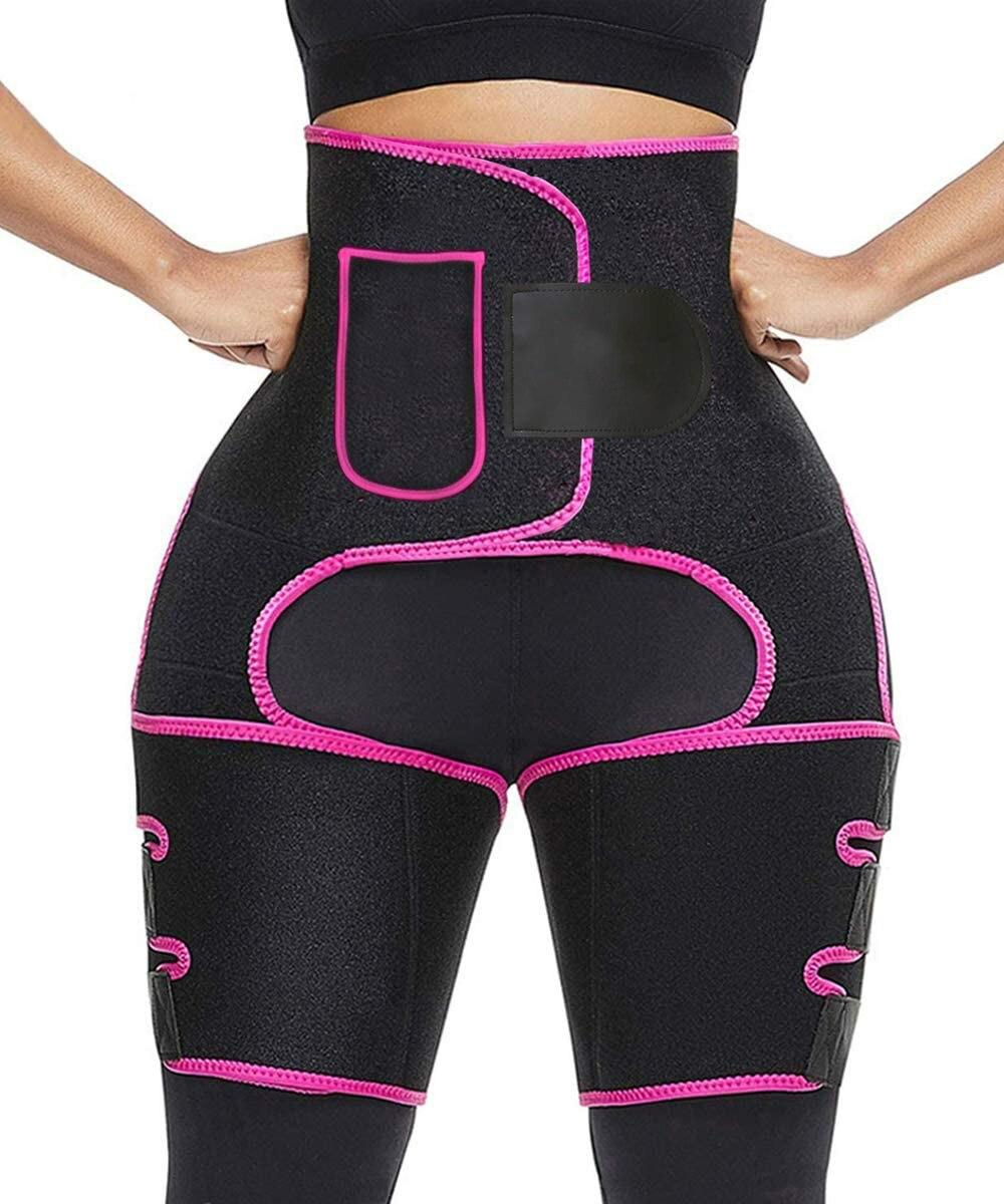 Faja para muslos ceñida de cintura alta 3 en 1, recortadora de glúteos, recortadora de cintura, cinturón, levantador de glúteos, entrenamiento, moldeador de piernas, Sauna, Fitness