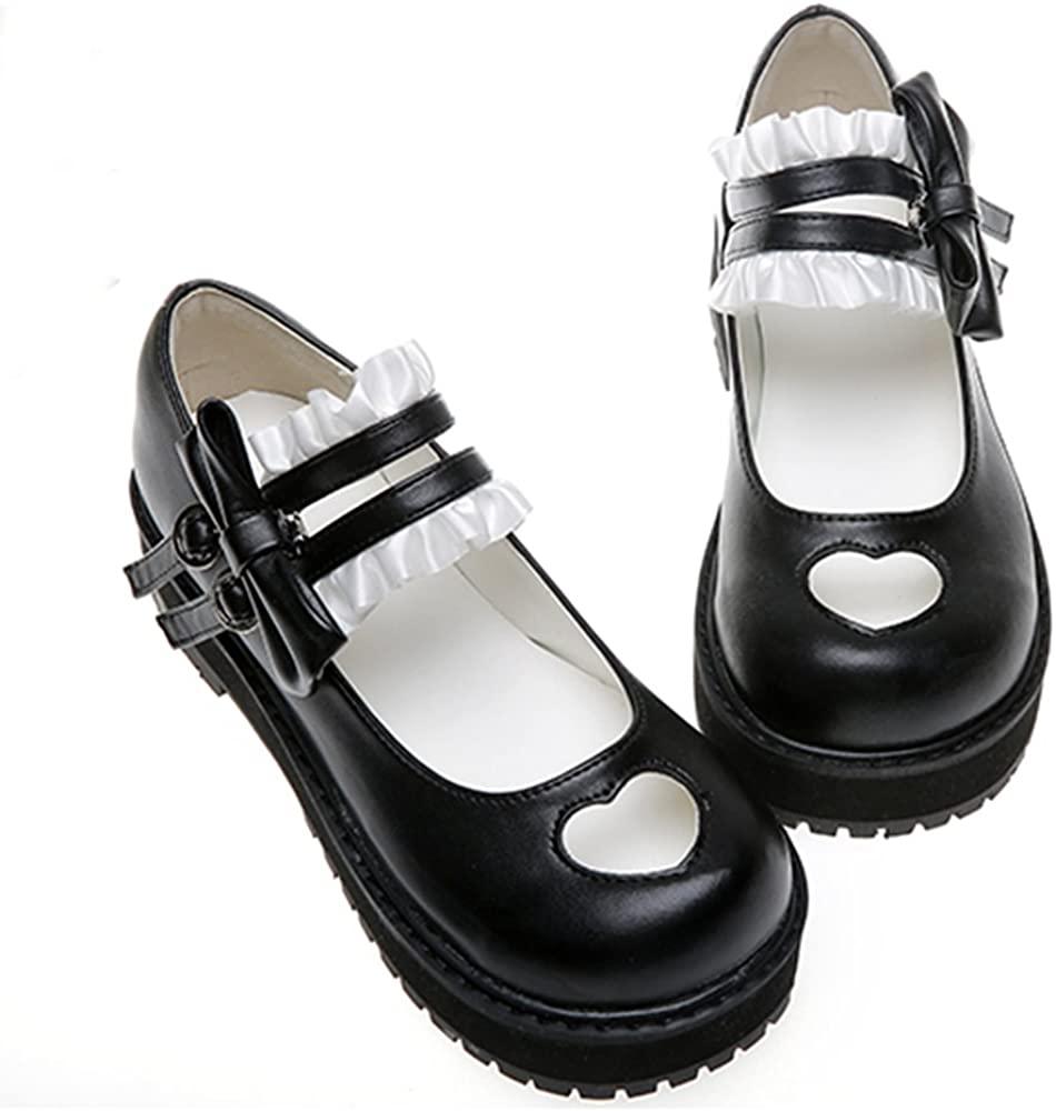 حذاء تأثيري ياباني ناعم ، لوليتا ، قلب مجوف ، حذاء مسطح ، حذاء Kawaii ، تأثيري أنيمي