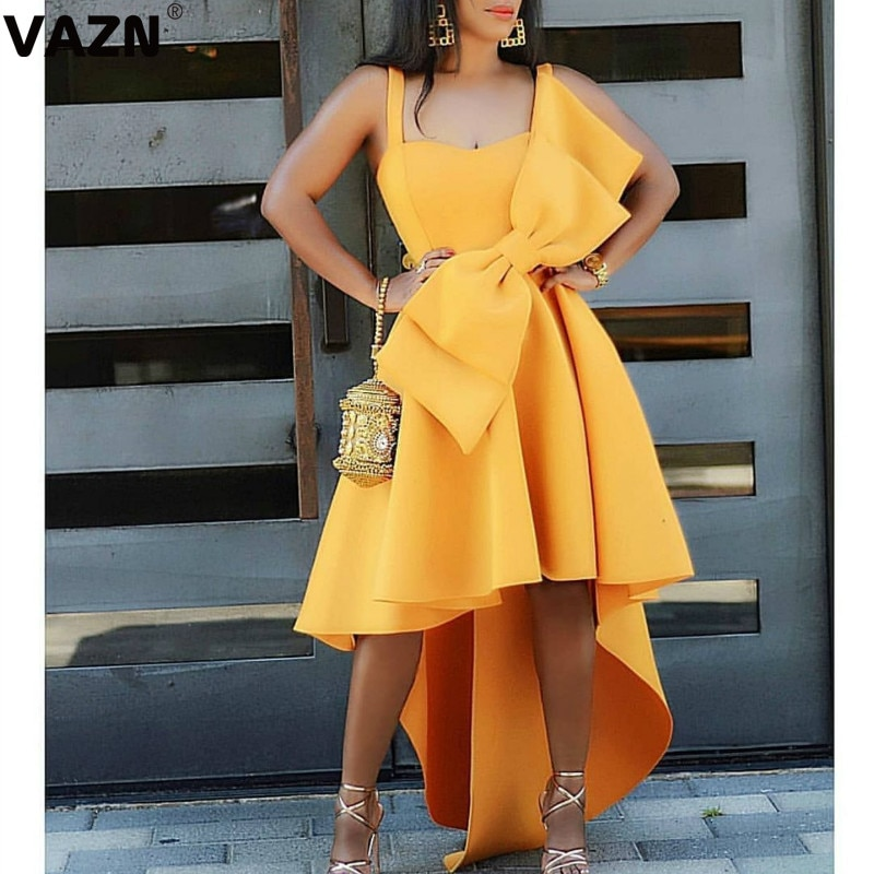 VAZN KEN39477 Top Upmarket Sexy Club Elegant Yellow Spaghetti Strap Bow High Waist Women Asymmetrical Ball Gown Midi Dress