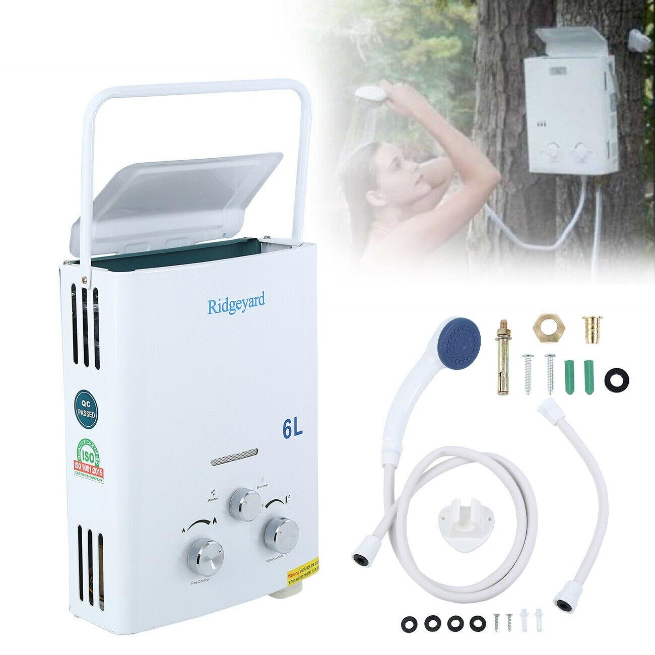 6L LPG Gas propano calentador de agua sin tanque instantáneo baño con cabezal de ducha calentador de agua caliente caldera calorificador EU envío