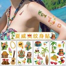 10 pièces/ensemble Tropical hawaïen fête Aloha tatouage autocollants flamant rose tatouages temporaires Hawaii Luau été fête décor fournitures