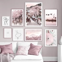 pink mount fuji umbrellas street cranes lake deer wall art print canvas painting nordic poster decor pictures for living room