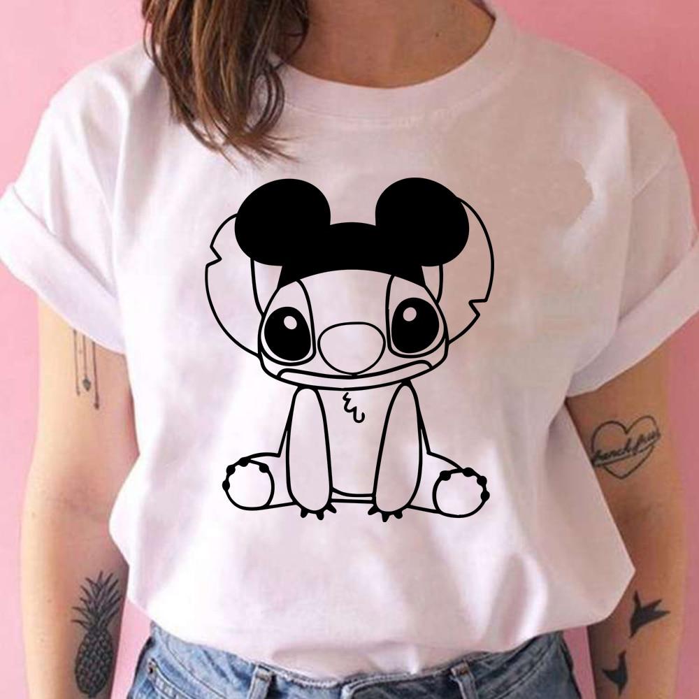 Веселая одежда с Микки стежком, хипстерская футболка с мультяшным Диснеем для женщин, молодежная модная уличная одежда с коротким рукавом, ...