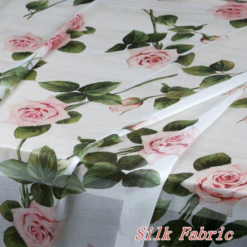 Rosa rosa flores impresso tecido chiffon de seda fina 100% mulberry seda chiffon roupas tecido feminino camisa vestido tissu au metro