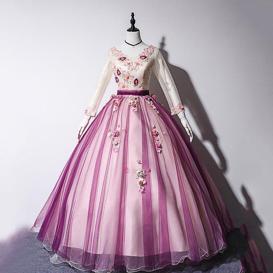 Gryffon quinceanera vestido 2019 festa de formatura completo boné manga solo anfitrião vestido de baile do vintage renda bordado quinceanera vestidos