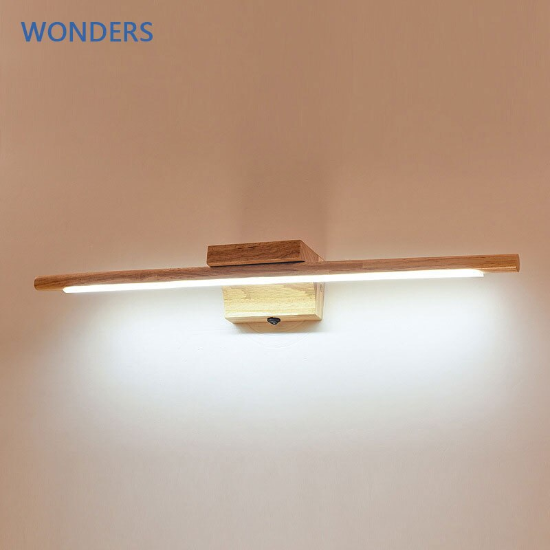 الشمال 55 سنتيمتر خشب متين LED مرآة الجدار مصابيح للحمام مضمد ديكور المنزل قطارة لغرفة النوم السرير الجدار الخفيفة مع التبديل