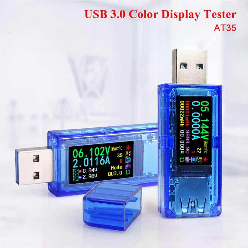 AT35 USB 3.0 LCD Multimeter Voltmeter Ammeter Current Meter Power Bank Tester