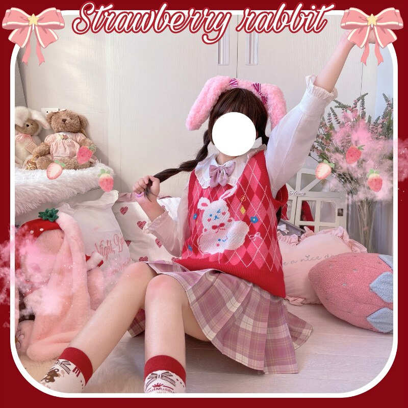 Red Rabbit JK Sweater Coats V Neck Navy Sailor Suit Japanese School Uniform Sweater Girls Pleated Vintage Coat For JK dress