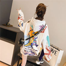 Women hooded graffiti print plus velvet thick ladies hooded ins super fire lazy style jacket spring