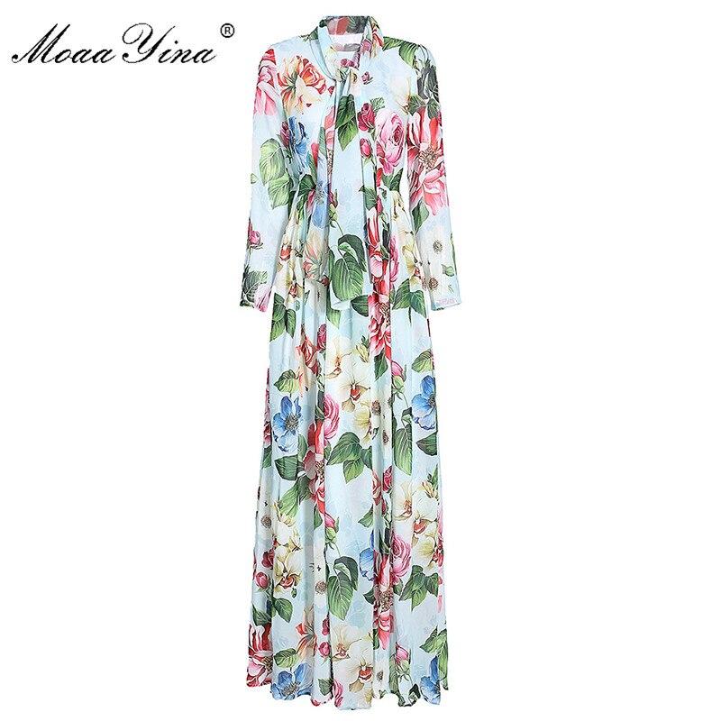 MoaaYina, vestido de diseñador de moda para primavera y otoño, vestido para mujer, Vestido largo de manga larga, cinta con estampado Floral, Maxi vestidos
