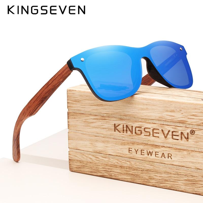 KINGSEVEN Brand Wooden Vintage Sunglasses Men Polarized UV400 Flat Lens Rimless Square Frame Women S