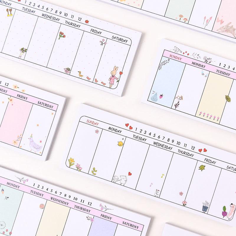 Kawaii de la agenda 2020 cuaderno animal de dibujos animados planificador creativo diario de dibujo semanal diario cuadernos libreta