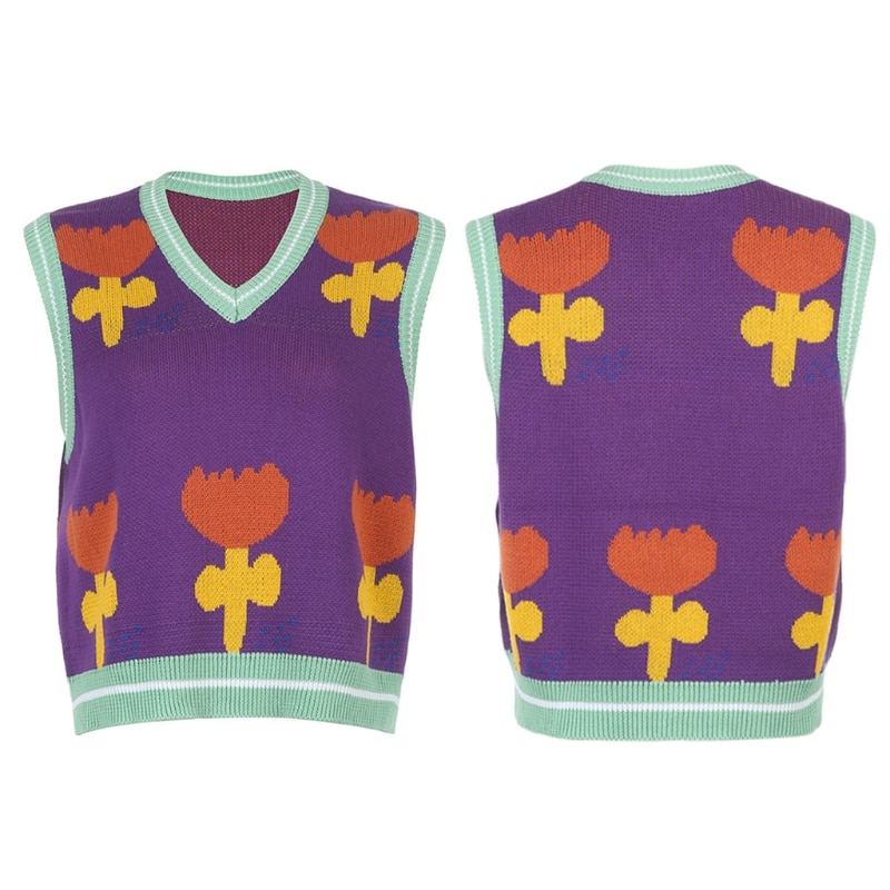 Women Knitted Sleeveless Vest Contrast Color Floral Jacquard Loose Sweater Tops enlarge