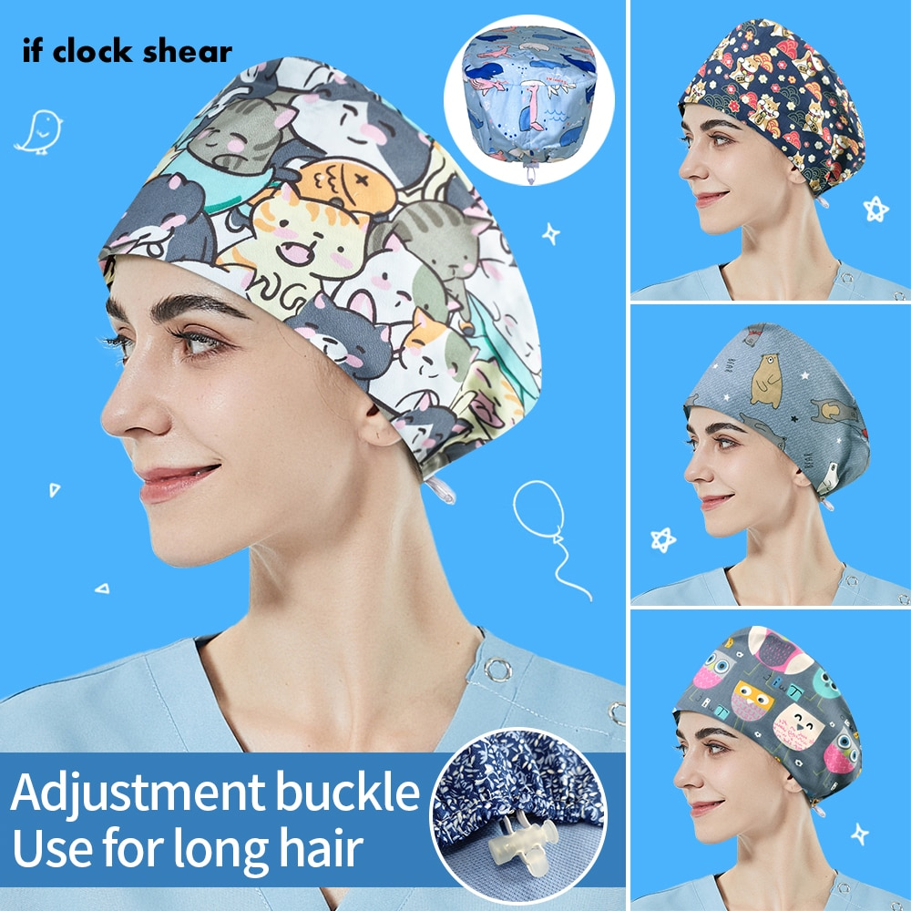 High Quality washable work hat for Long Hair Printed Tooth Health Check Scrubs Women Hats Pet Groomi