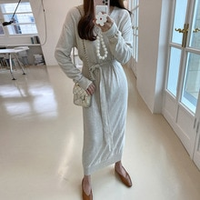 2021 Knitting Women Dress Korean Fashion New Autumn Winter Solid Color Long Sleeve Casual Simplicity
