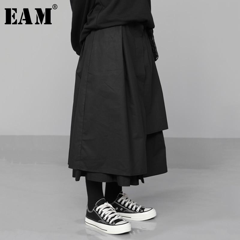 [EAM] High Elastic Waist Black Asymmetrical Pleated Temperament Half-body Skirt Women Fashion Tide New Spring Autumn 2020 1N530