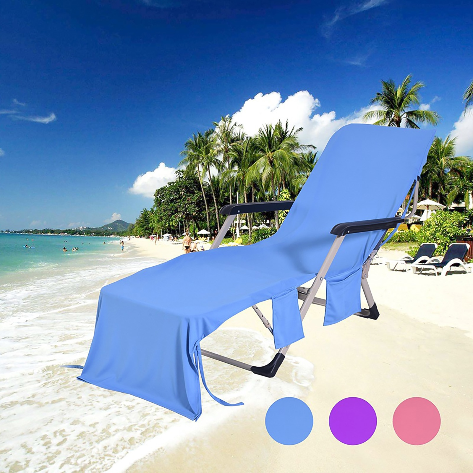Sun Lounge Beach Chair Cover Towel Holiday Garden Swimming Pool Bath Towel With Pockets For Lazy Chair For Summer Pool Party