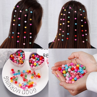 Mini Buckle Candy Color Beads Hairpin Braide Hair Clip Claw Small Catch Clip Girl Hairpin Barrette H