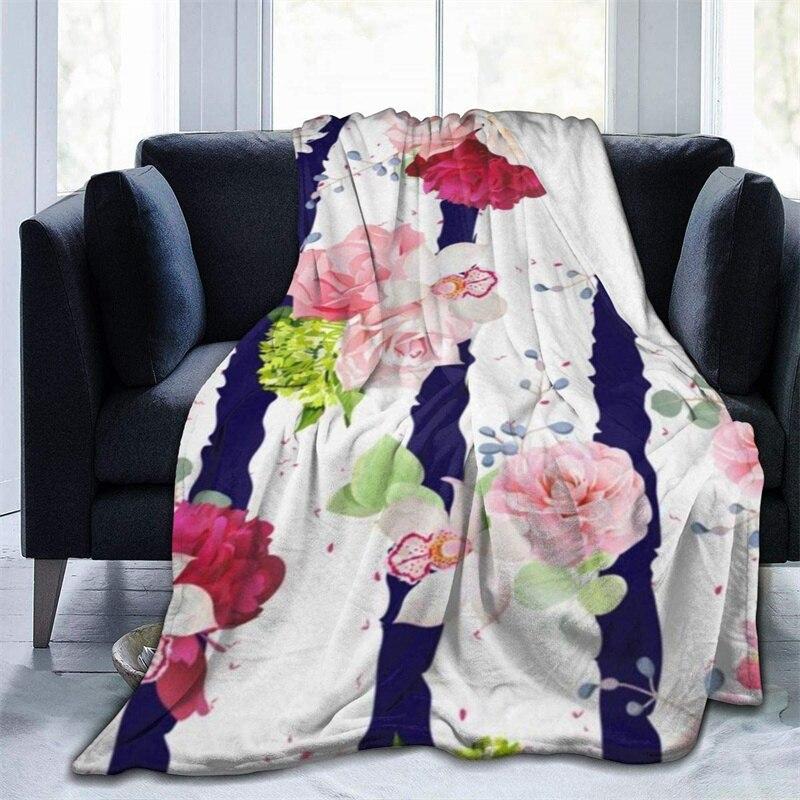 البحرية مخطط مع الورود الأزهار الخردل رمي بطانية ثلاثية الأبعاد الطباعة على الطلب Sherpa سوبر مريحة ل أريكة رقيقة لحاف السفر