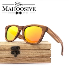 Zebra Wood Sunglasses Women Men Handmade Nature Wooden Polarized Sunglasses New With Creative Wooden