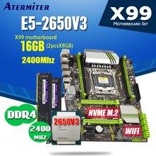 Juego de placa base atermiter X99 con cpu Xeon E5 2650 V3, 2 uds. X 8GB = 16GB, 2400MHz, memoria RAM DDR4 PC4 X79