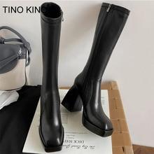 Fashion Female Super High Heels Long Boots PU Leather Zipper Shoes 2021 New Autumn Women Pumps Ladie