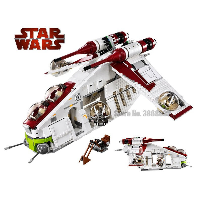 in stock 05041 StarWars Toy Republic Gunship Set  lepining Star Wars Ship for Children Educational Blocks Gift Boy