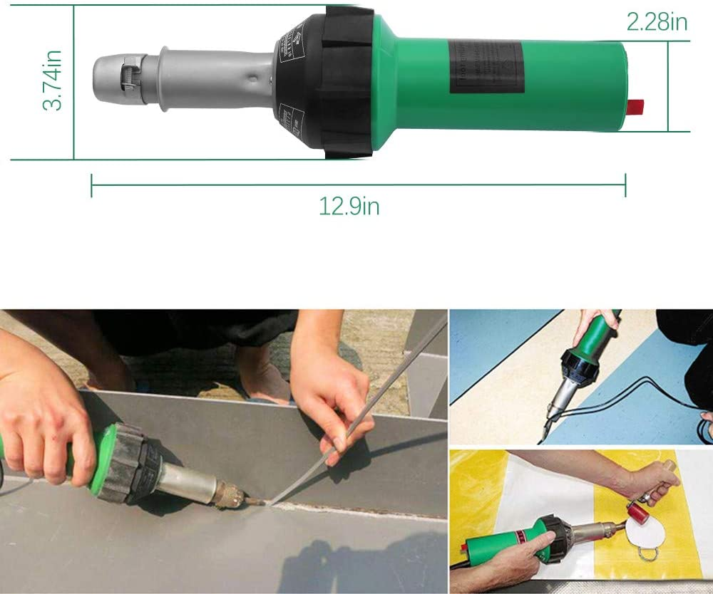 220V/110V 19pcs 1600W Plastic Welding Gun Hot Air Torch Heat Gun Welder For PVC Vinyl Floor PP PE Water Tank Geomembrane enlarge