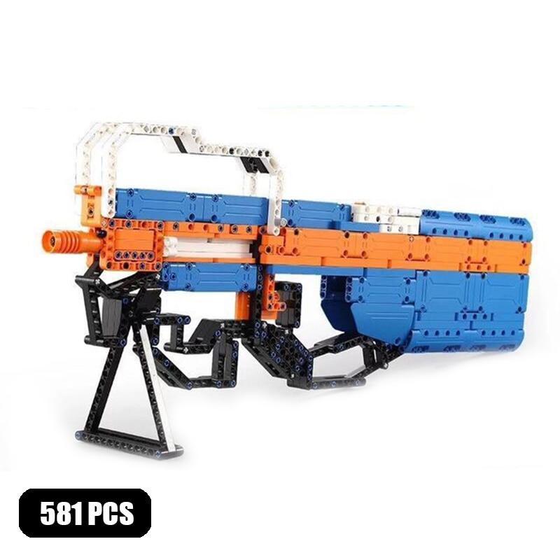 Cada armas militares p90 submáquina blocos de construção modelo swat técnica arma do exército pode lançar diy tijolos brinquedos para crianças presentes