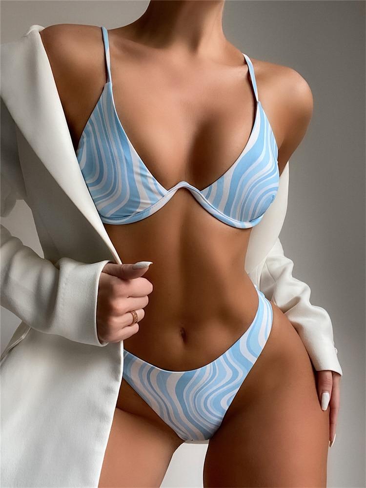 Sexy Bikini 2021 Swimsuit Women Swimwear Push Up Bikini Set Wave Pattern Print Biquini Bather Bathing Suit Brazilian Beach Wear 2021 sexy women high waist bikini swimsuit swimwear female bandeau thong brazilian biquini bikini set bathing beach suit bather