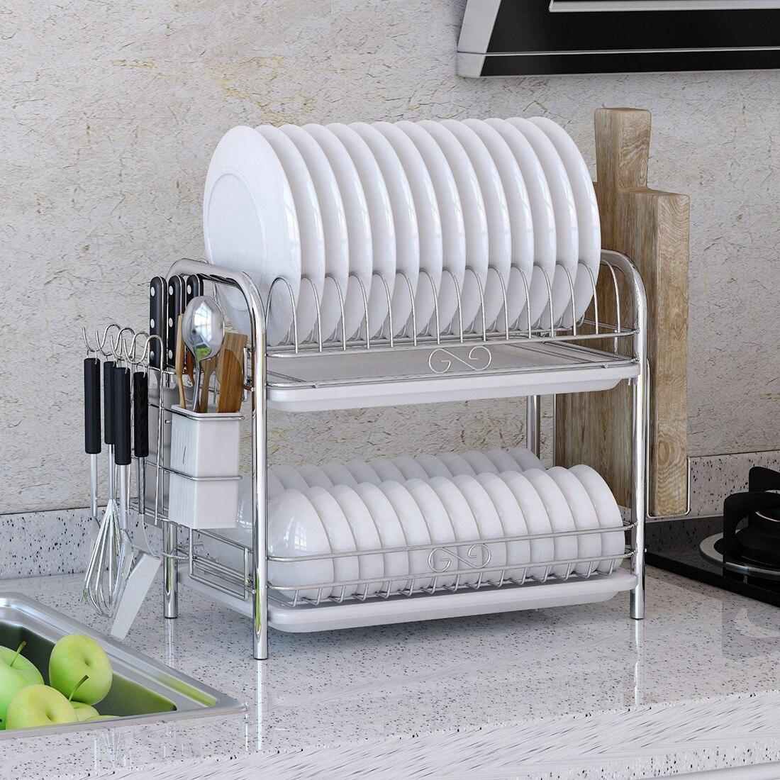 2 Tiers Wrought Iron Dish Drainer Kitchen Utensils Storage Rack With Drainboard Home Organizer Kitchen Shelf - Silver + White